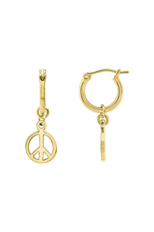 Peace Dangle Hoop Earrings