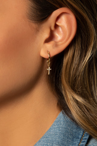 Heart Dangle Hoop Earrings, 14K Clad