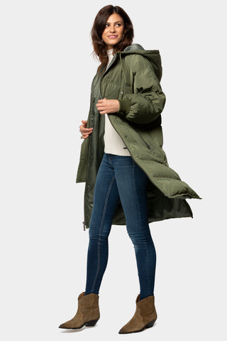 Long Puffer Jacket with Hood