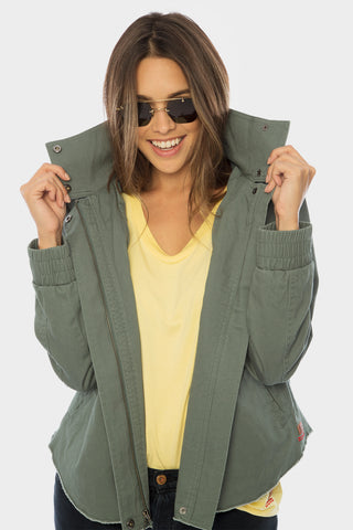 Zip-Front Hi-Low Hooded Cardigan