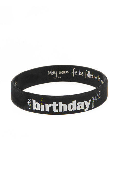 i am birthday girl silicone bracelet