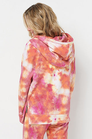 solid or tie dye cowl neck hoodie with side zips