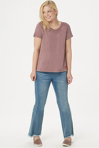 tee with cutout detail on neckline