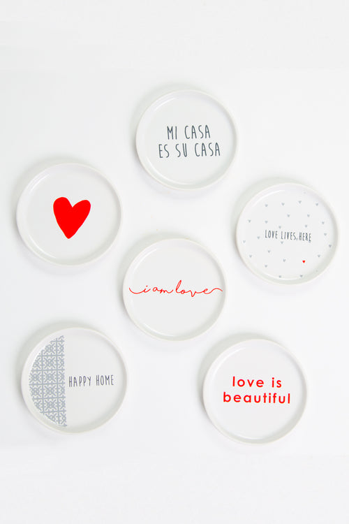 set of 6 affirmation coasters