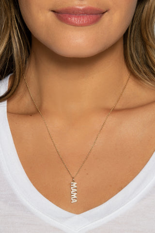 Pave Happy Pendant w/ Chain, 14K Clad