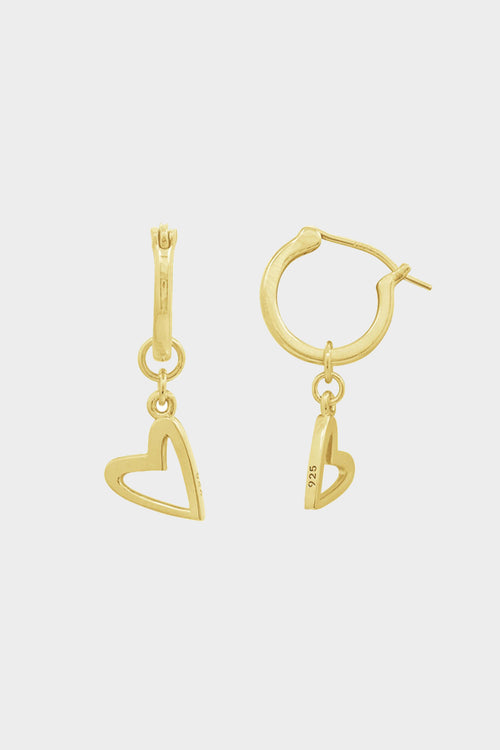 heart dangle hoop earrings