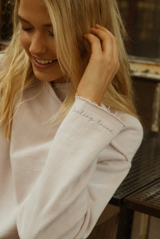 cross-over drape-neck sweatshirt