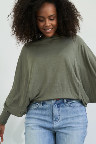 Raw Edge Flutter Sleeve Tee