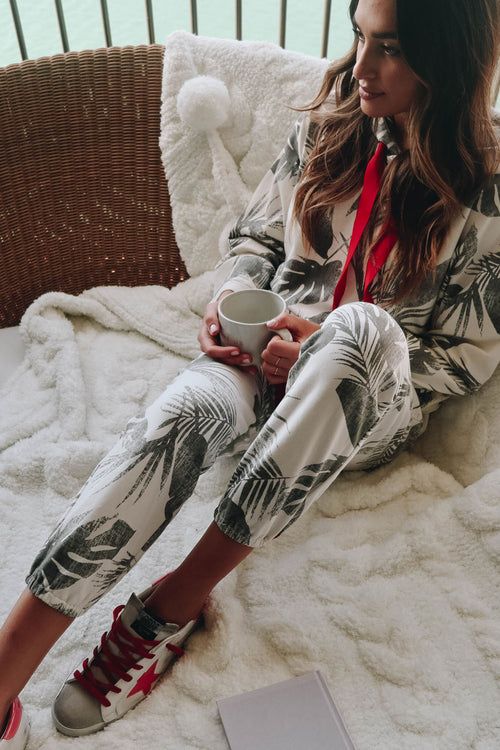 printed french terry jogger pant