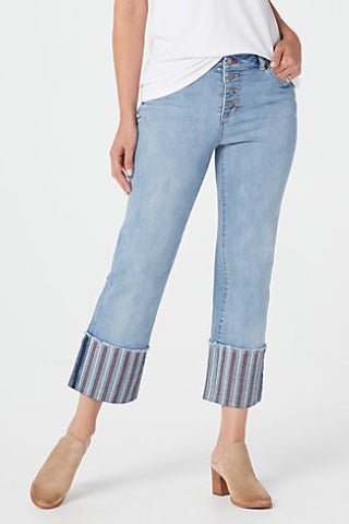 girlfriend high waisted wide cuff jeans