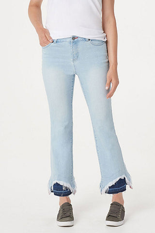 Indigo Jeans with Contrast Hem Detail