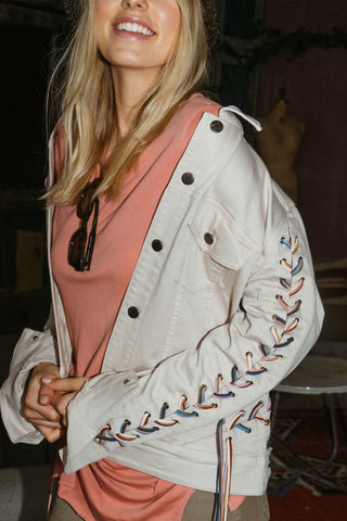 jacket with fringe braided trim