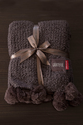 Super Oversized Knit Throw with Pom-Poms