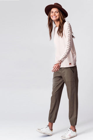 Knit Pants with Drawstring Tie