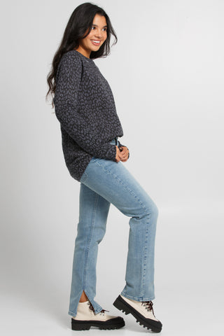 "Snap-Front ""Love"" Jacquard Sweater"