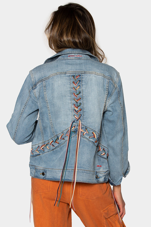 Medium Wash Jacket w/Fringe Braided Trim