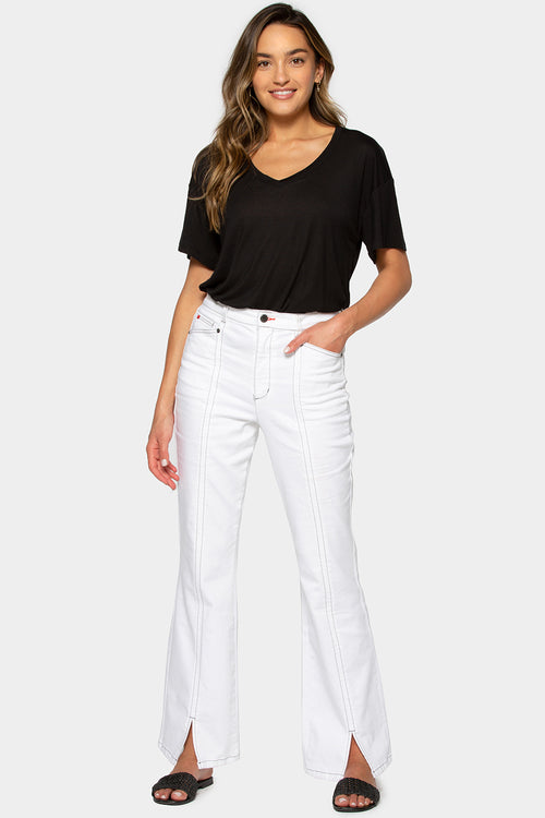 white wash high front slit jeans