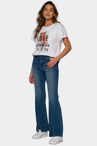Medium Wash High Front Slit Jeans