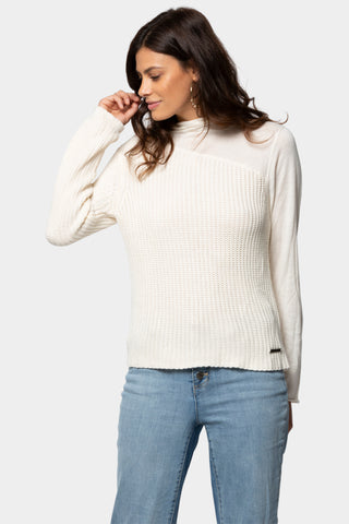 Bamboo Rib Sweater with Mesh