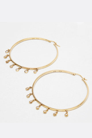 Love Dangle Hoop Earrings, 14KClad