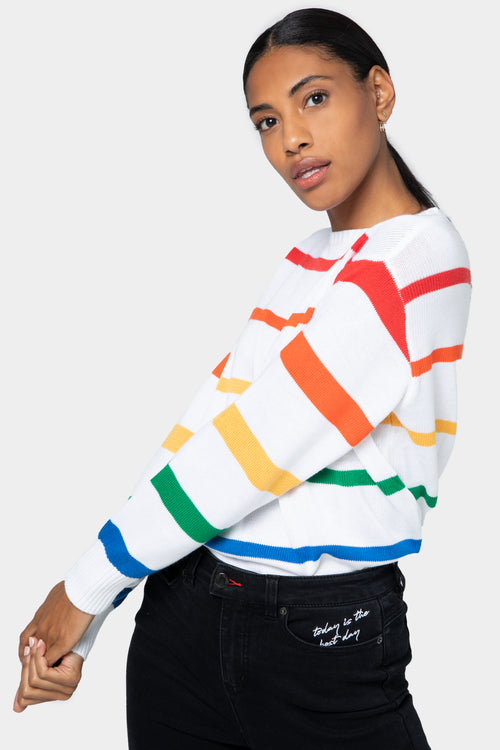 Rainbow Striped Sweater - SAMPLE