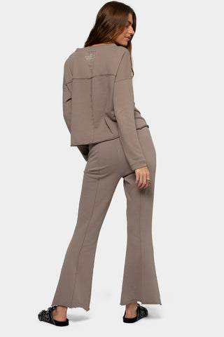 pintuck pull-on pants with front slit detail