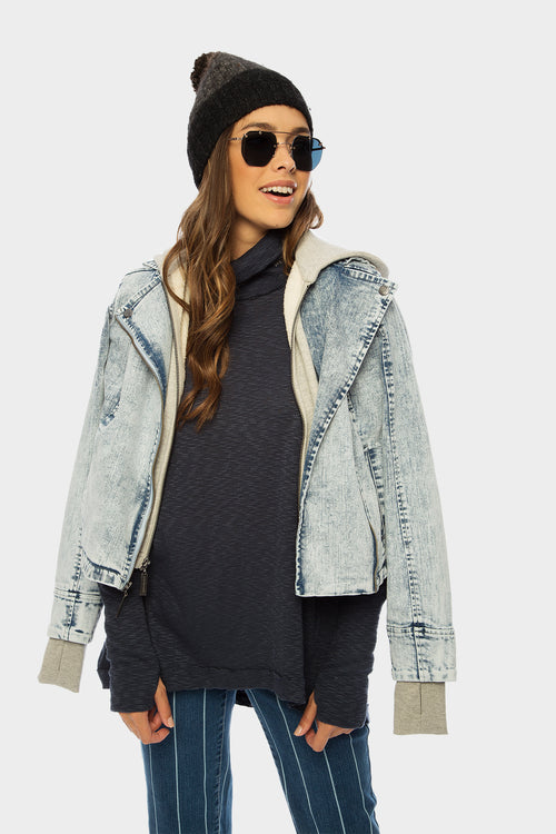 Denim Moto Jacket with Hoodie