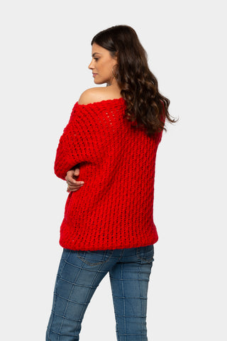 texture sweater with boat neck