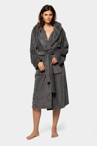faux fur cozy robe with affirmation