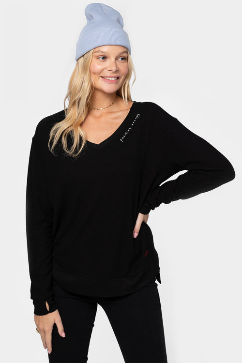 comfy knit top with affirmation