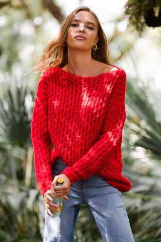 Side Neck Snap Comfy Knit Top