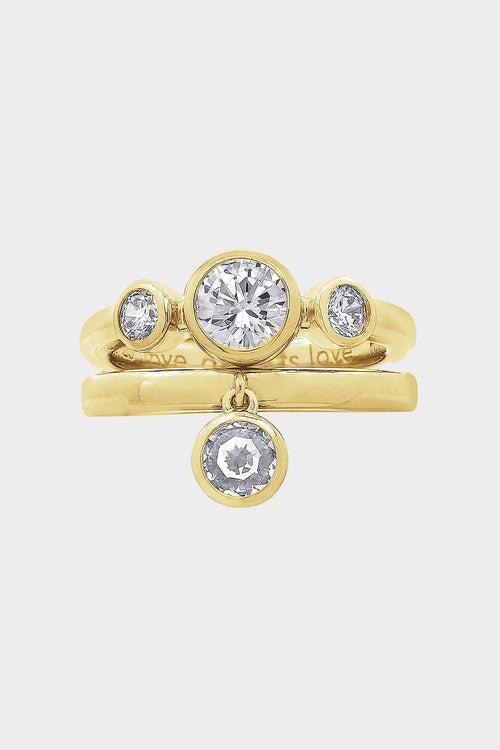 set of 2 cubic zirconia rings