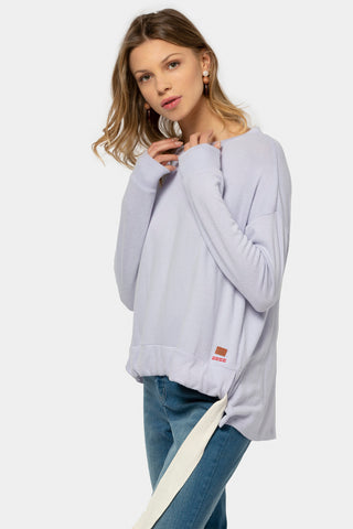 comfy knit top with drawstring hem detail