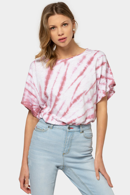 Tie-Dye Drop Shoulder Ruffle Sleeve T-Shirt