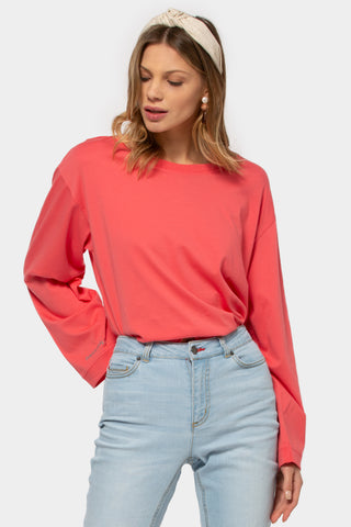 French Terry Pullover with Flounce Sleeve