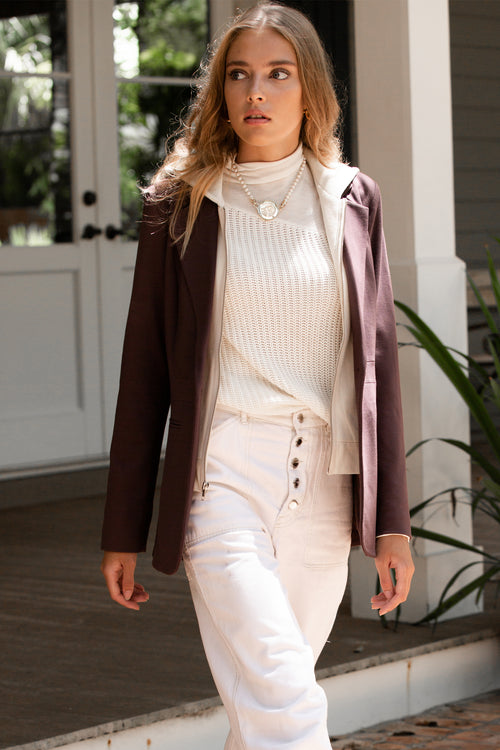 ponte blazer with hoodie