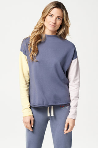 color-block french terry pull-over
