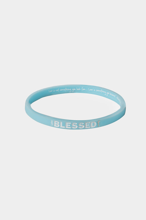 i am blessed blue thin silicone bracelet