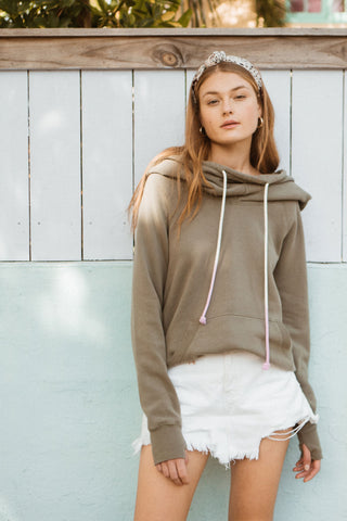 cowl neck hoodie with affirmation