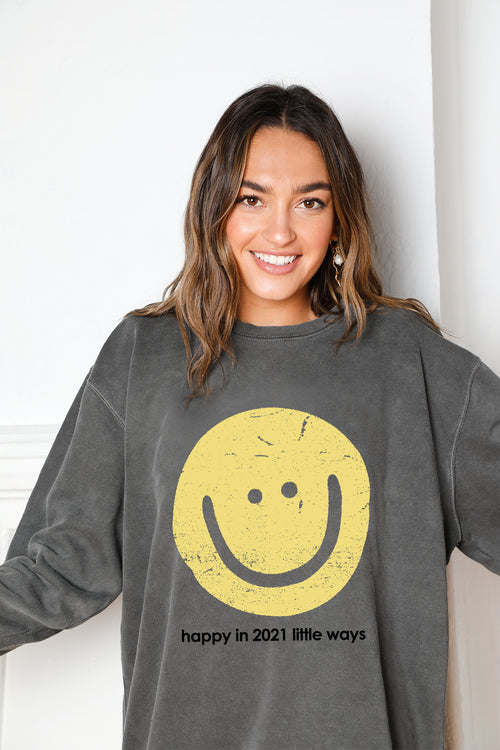 happy crew neck sweatshirt