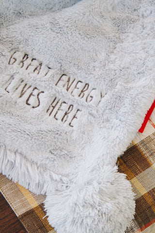luxury shag throw with pom-poms