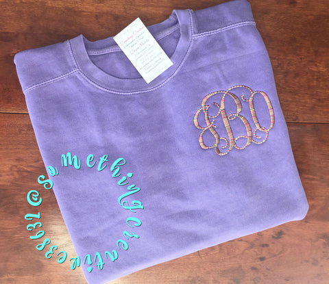 Comfort Color Sweatshirts- L/R Chest or Hip Monogram