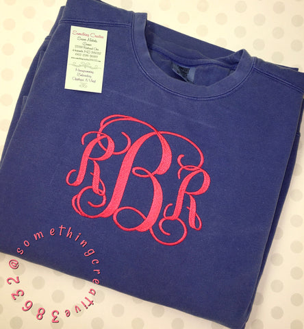 Comfort Color Sweatshirts- Large Monogram