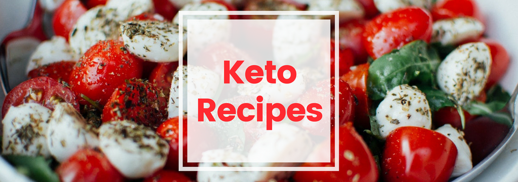 keto recipes banner with bowl of tomatoes, cheese and herbs