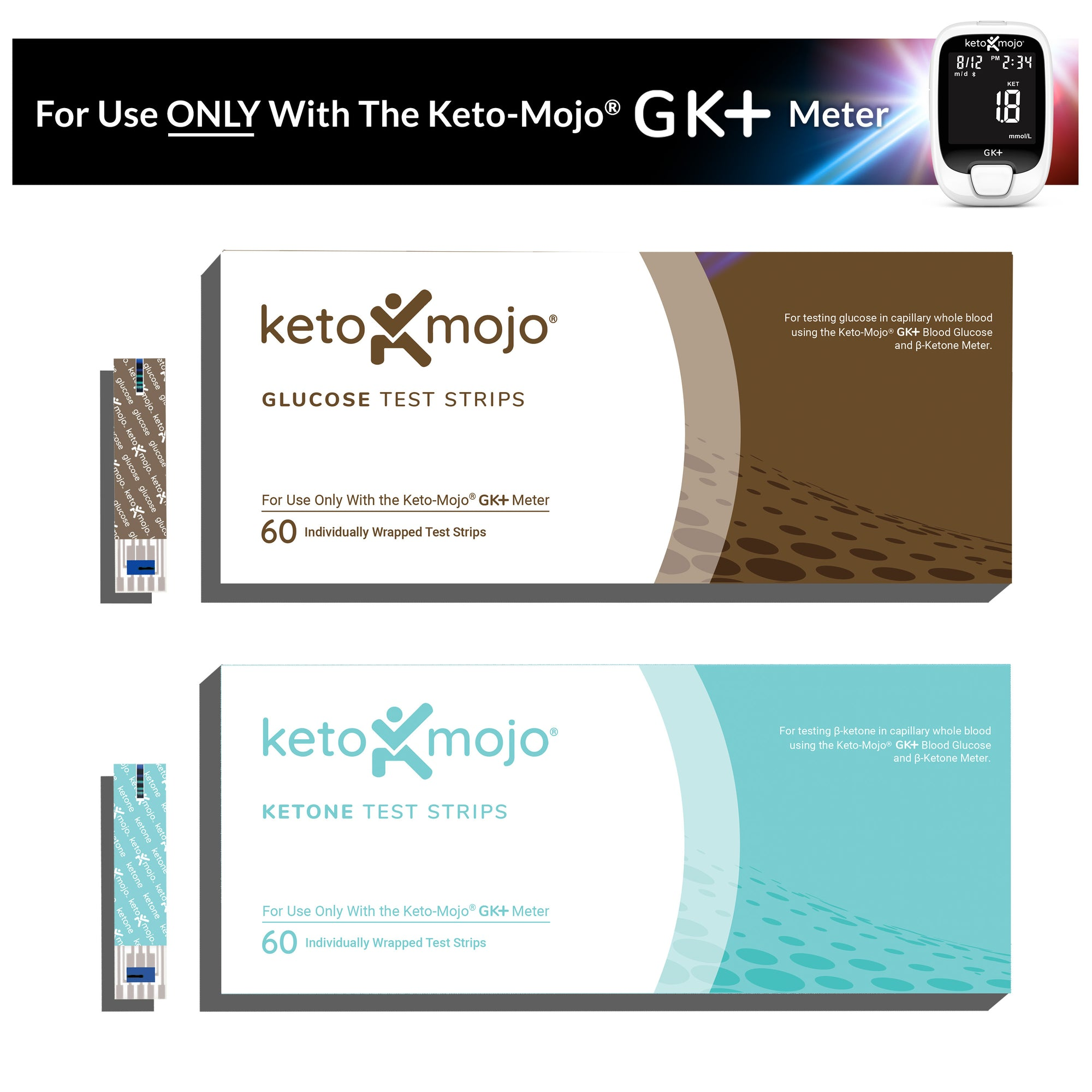 GK+ Test Strip Bundle (60 Glucose & 60 Ketone)