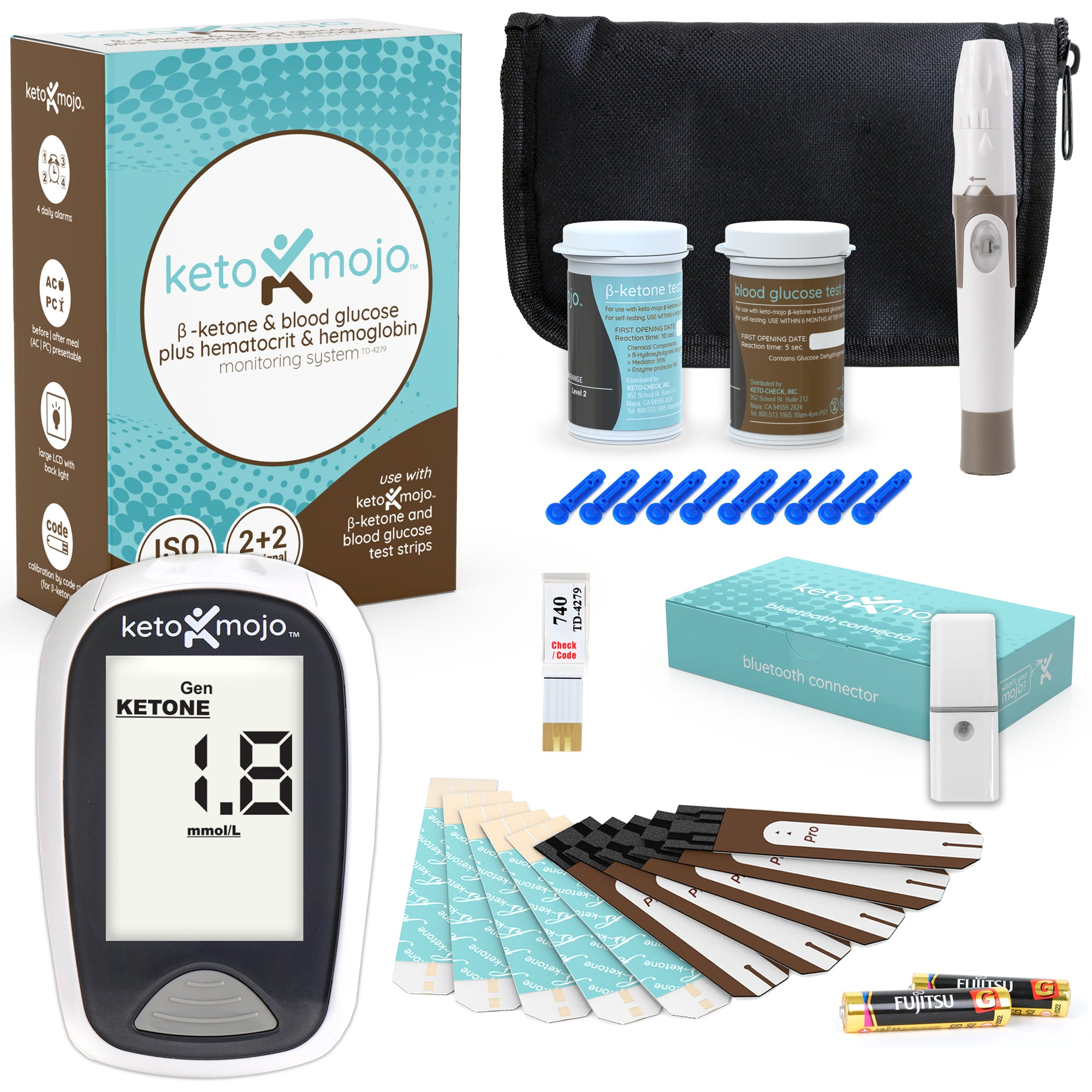 Keto-Mojo Ketone & Glucose Basic Kit + Free Bluetooth Connector