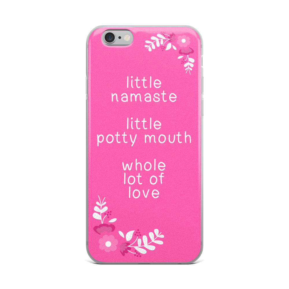 Little Namaste Pink Flowers iPhone Case