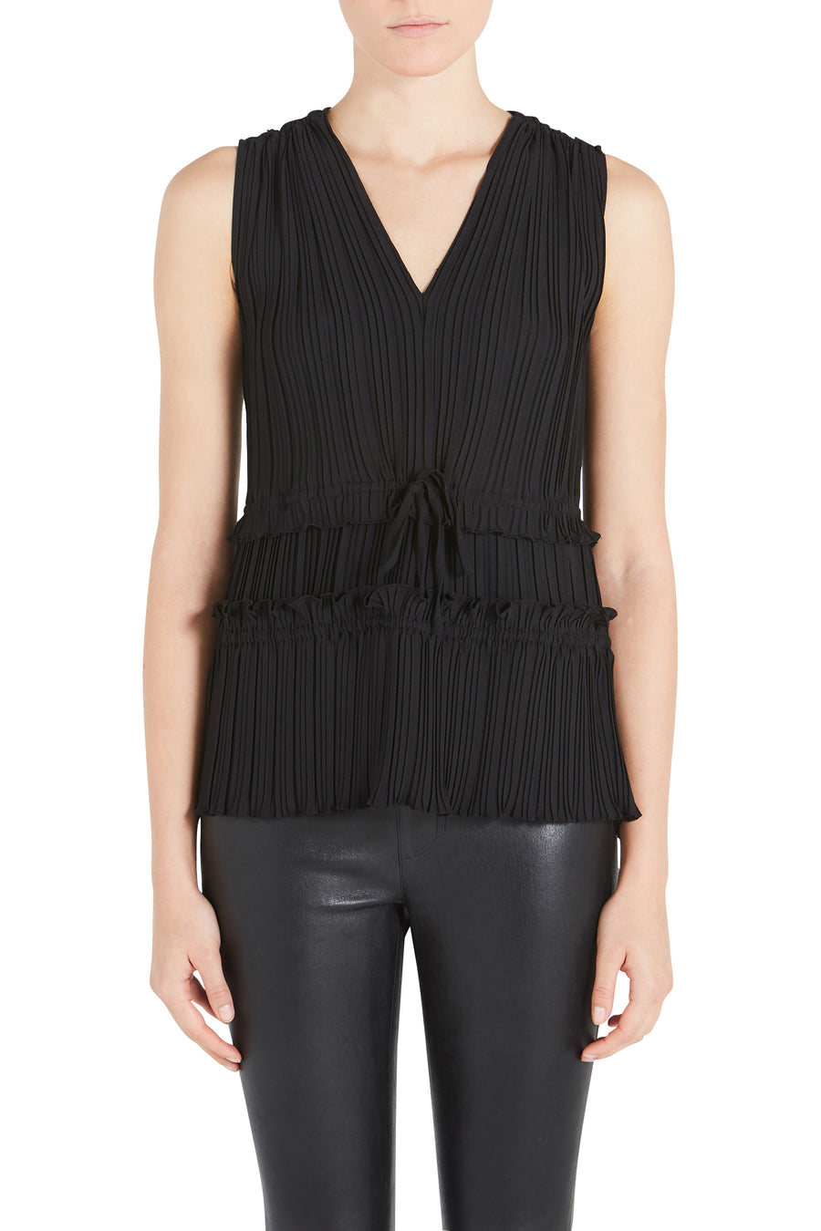 PLEATED VNECK TANK
