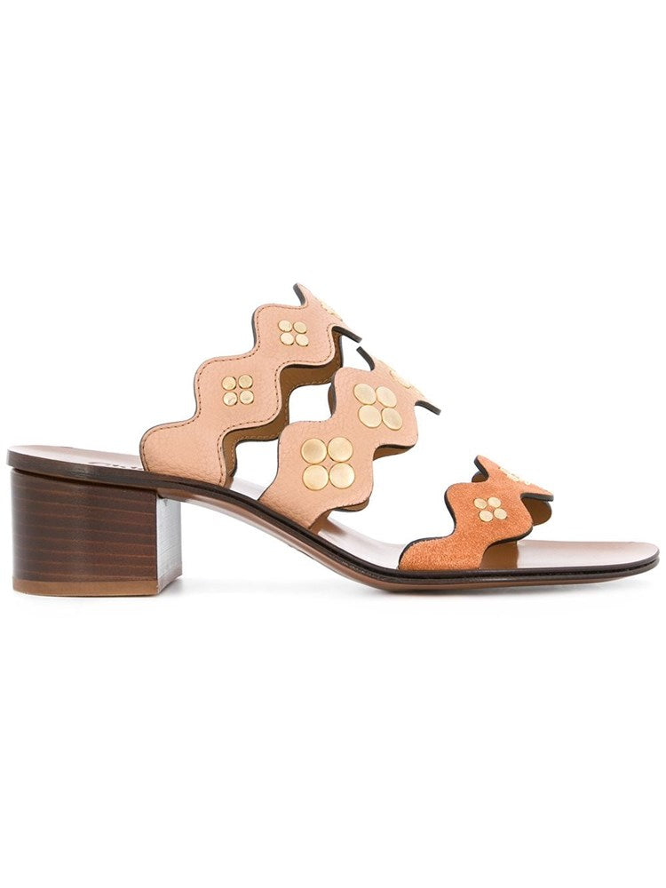 Chloe Lauren Sandals w. Studs in Biscotti Beige from The New Trend