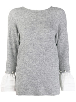 3.1 Phillip Lim Lofty V Neck Sweater with Pearls